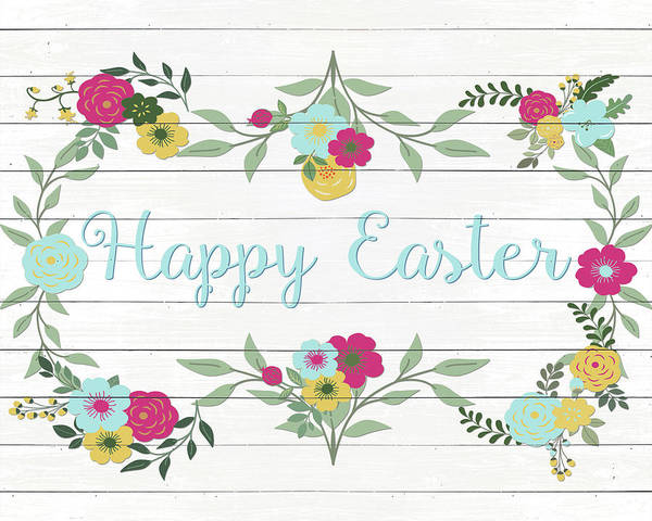 Wall Art - Digital Art - Happy Easter Floral On White Wood by Sd Graphics Studio