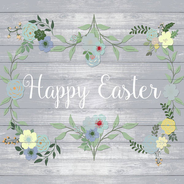 Wall Art - Digital Art - Happy Easter Floral by Sd Graphics Studio