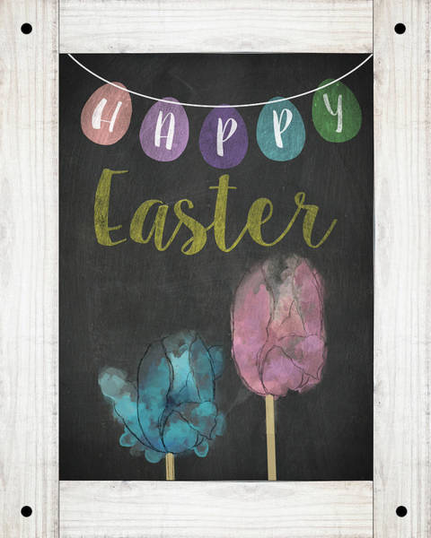 Wall Art - Digital Art - Happy Easter Sign by Sd Graphics Studio
