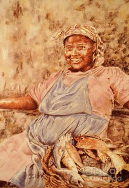 West Indies Wall Art - Pastel - Happy Fish Seller by John Clark