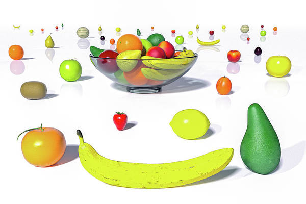 Wall Art - Digital Art - Happy Fruit by Betsy Knapp