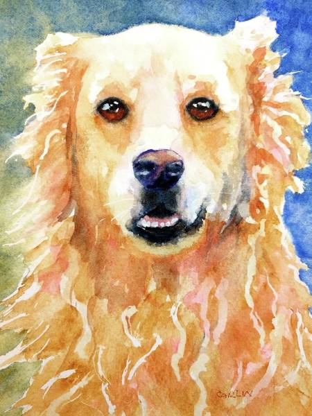 Pedigree Painting - Happy Golden Retriever by Carlin Blahnik CarlinArtWatercolor