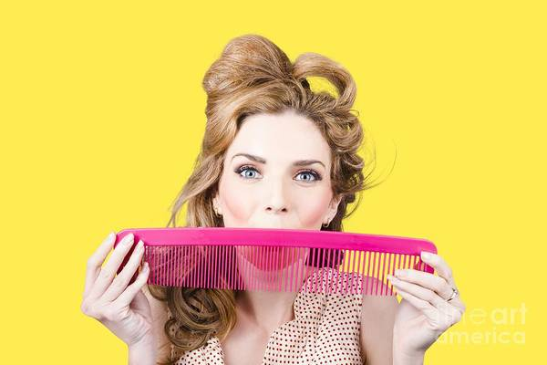 Hairstyle Photograph - Happy Hairstyle Pinup Woman Smiling With Hair Comb by Jorgo Photography - Wall Art Gallery
