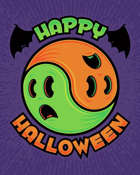 Ghoul Digital Art - Happy Halloween Ghost Yin-yang by John Schwegel