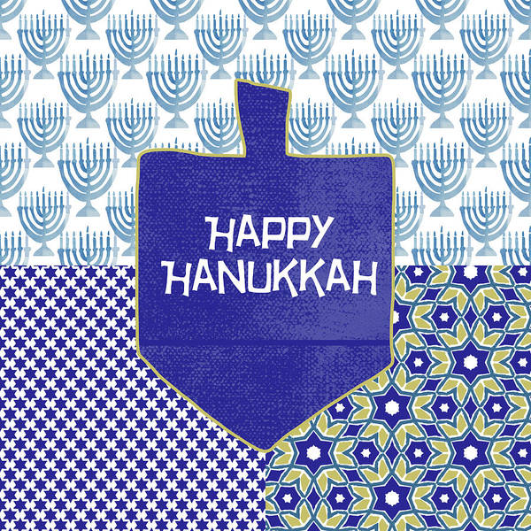Wall Art - Painting - Happy Hanukkah Dreidel 1- Art By Linda Woods by Linda Woods