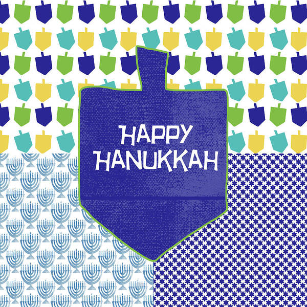 Wall Art - Painting - Happy Hanukkah Dreidel 2- Art By Linda Woods by Linda Woods