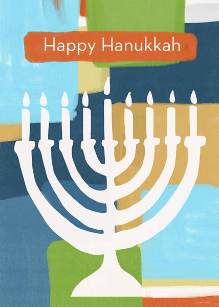 Jewish Art Wall Art - Mixed Media - Happy Hanukkah Menorah Painted- Art By Linda Woods by Linda Woods