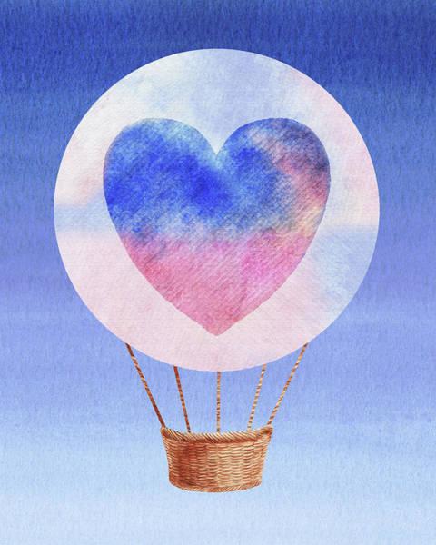 Painting - Happy Heart Hot Air Balloon Watercolor I by Irina Sztukowski