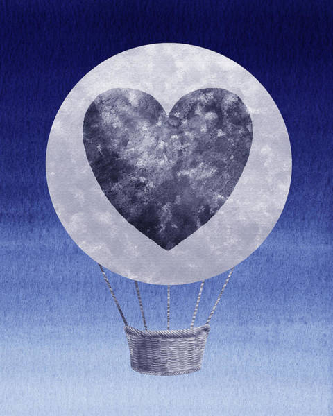 Painting - Happy Heart Hot Air Balloon Watercolor Ix by Irina Sztukowski