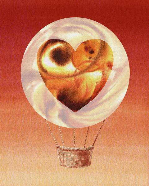 Wall Art - Painting - Happy Heart Hot Air Balloon Watercolor Vi by Irina Sztukowski