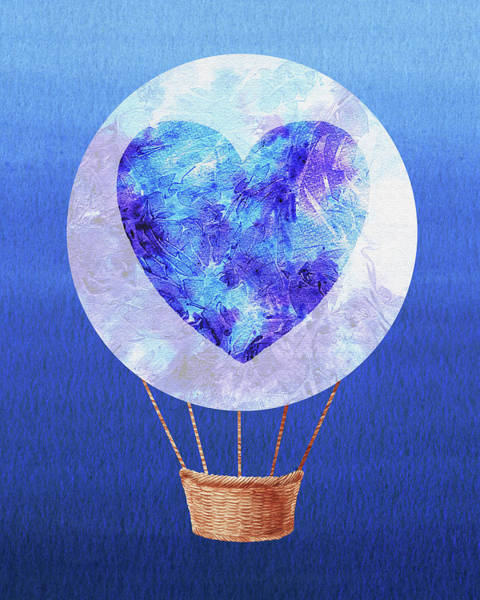 Painting - Happy Heart Hot Air Balloon Watercolor Vii by Irina Sztukowski
