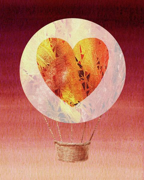 Wall Art - Painting - Happy Heart Hot Air Balloon Watercolor Viii by Irina Sztukowski