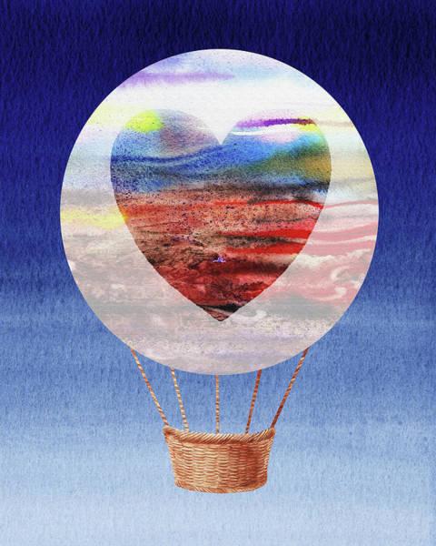Wall Art - Painting - Happy Heart Hot Air Balloon Watercolor Xi by Irina Sztukowski