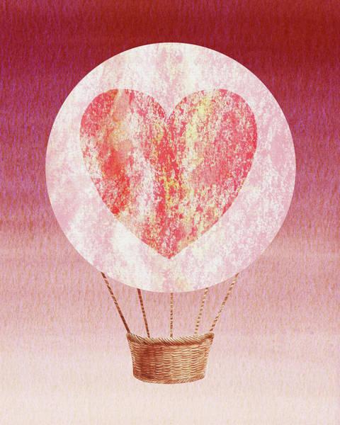 Wall Art - Painting - Happy Heart Hot Air Balloon Watercolor Xii by Irina Sztukowski