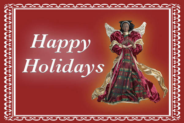 Photograph - Happy Holidays Angel Red by Marvin Bowser