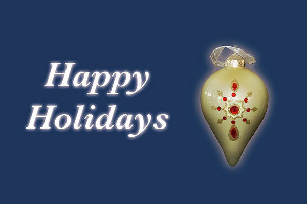 Photograph - Happy Holidays Ornament Blue by Marvin Bowser