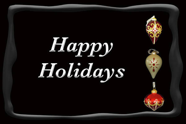 Photograph - Happy Holidays Ornaments Black by Marvin Bowser