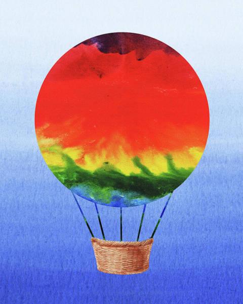 Painting - Happy Hot Air Balloon Watercolor I  by Irina Sztukowski