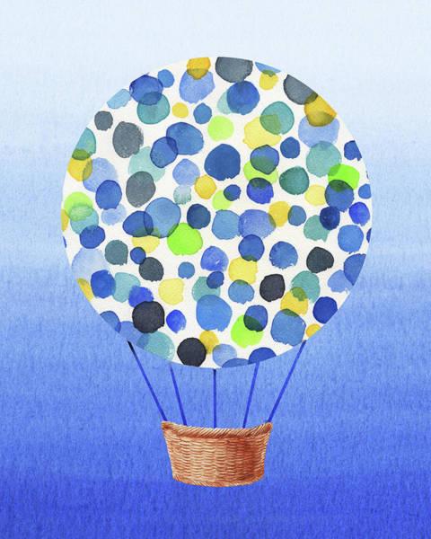 Wall Art - Painting - Happy Hot Air Balloon Watercolor II by Irina Sztukowski