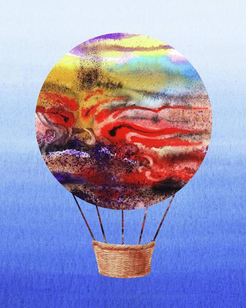 Wall Art - Painting - Happy Hot Air Balloon Watercolor Iv by Irina Sztukowski