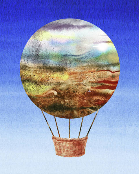 Painting -  Happy Hot Air Balloon Watercolor Ix by Irina Sztukowski