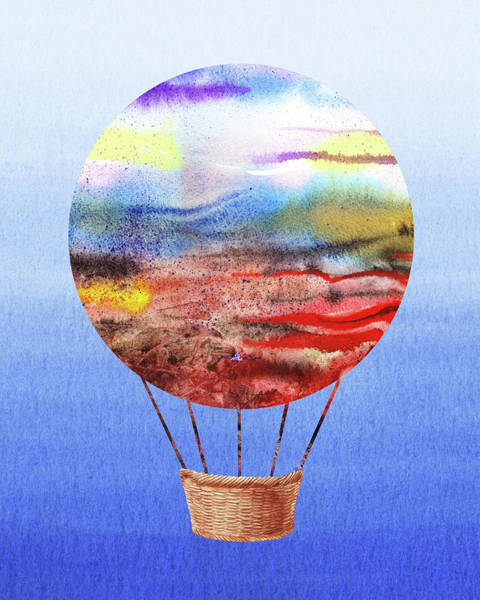 Wall Art - Painting - Happy Hot Air Balloon Watercolor Vi by Irina Sztukowski