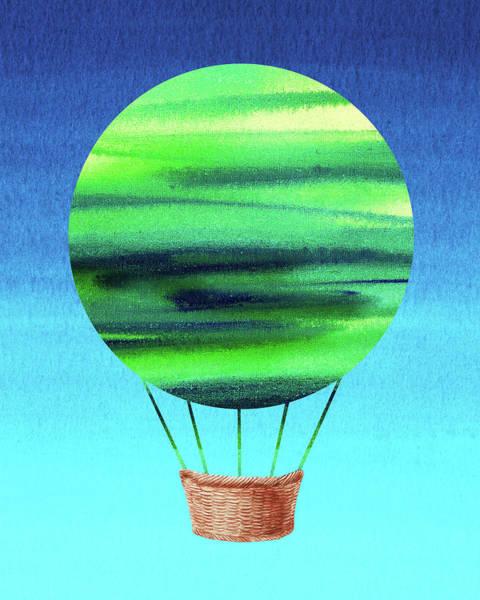 Wall Art - Painting - Happy Hot Air Balloon Watercolor Viii  by Irina Sztukowski