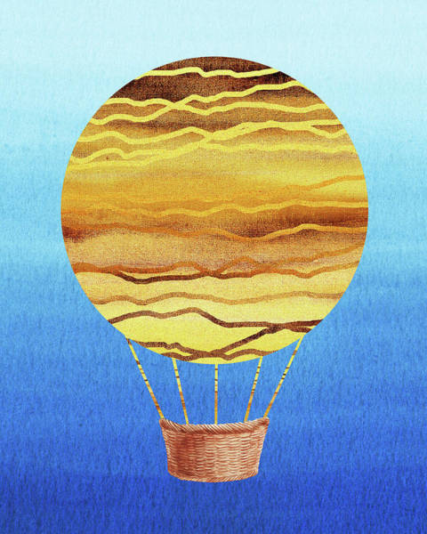 Wall Art - Painting - Happy Hot Air Balloon Watercolor Xviii by Irina Sztukowski