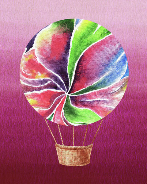 Wall Art - Painting - Happy Hot Air Balloon Watercolor Xxii by Irina Sztukowski