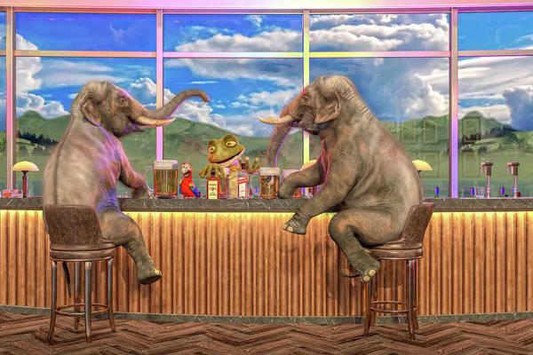 Animal Place Wall Art - Digital Art - Happy Hour by Betsy Knapp