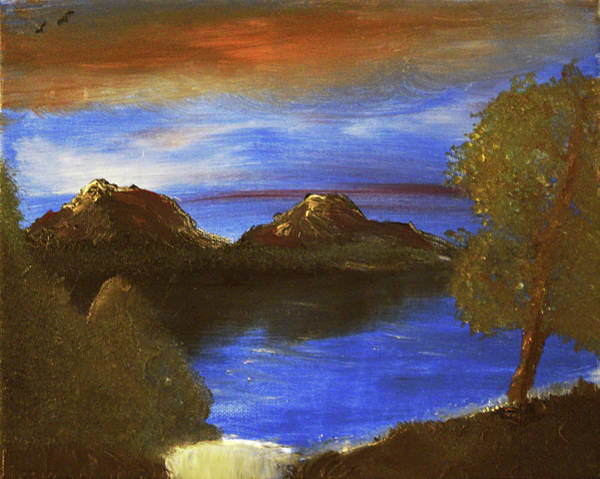 Painting - Happy Little Evening Lake by Chance Kafka