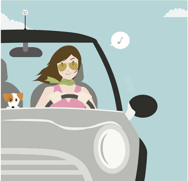 Terrier Digital Art - Happy Motoring by Gollykim