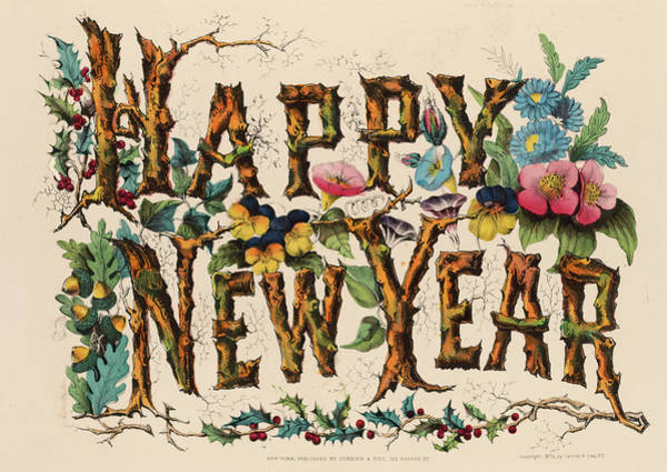 Wall Art - Painting - Happy New Year, 1867 by American School