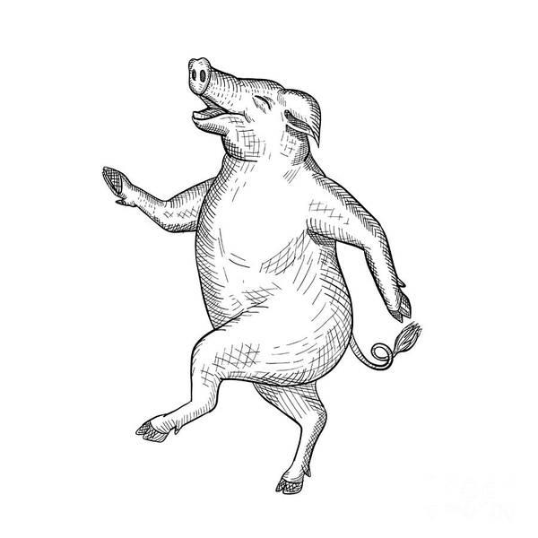 Wall Art - Digital Art - Happy Pig Dancing Drawing Retro Black And White by Aloysius Patrimonio