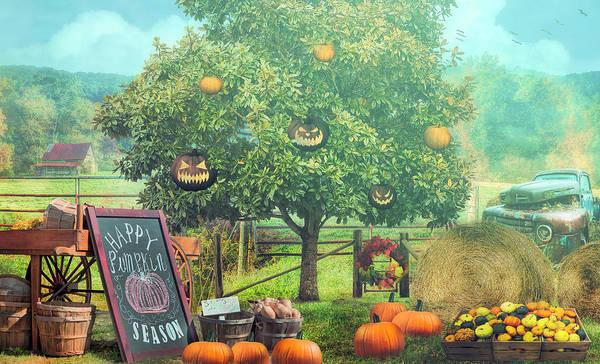 Wall Art - Photograph - Happy Pumpkin Season Misty Morning by Debra and Dave Vanderlaan