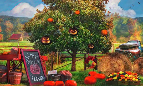 Photograph - Happy Pumpkin Season Painting by Debra and Dave Vanderlaan
