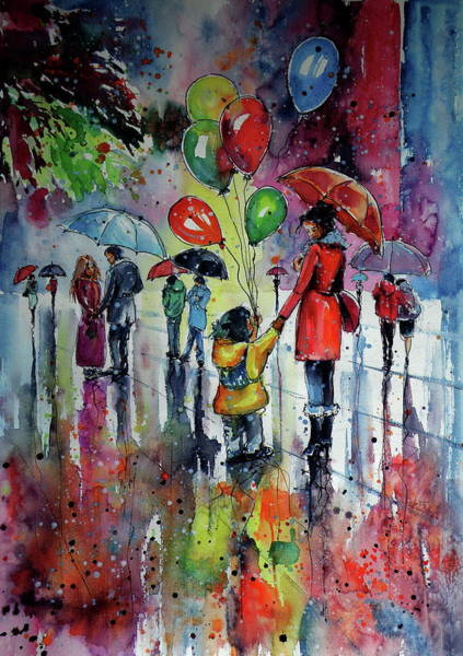 Wall Art - Painting - Happy Rainy Day by Kovacs Anna Brigitta