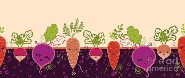 Beet Wall Art - Digital Art - Happy Root Vegetables Horizontal by Oksancia
