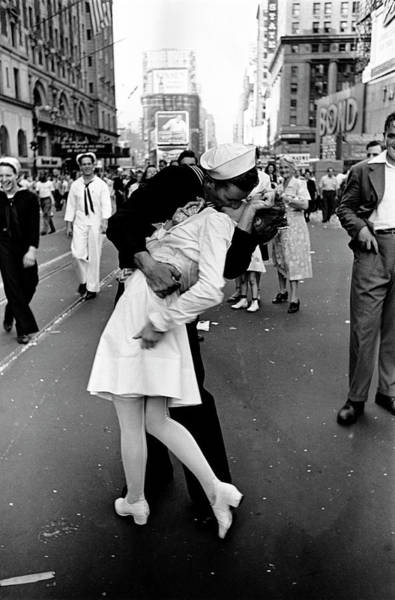 Wall Art - Photograph - Happy Sailor Kissing Nurse In Times by Alfred Eisenstaedt
