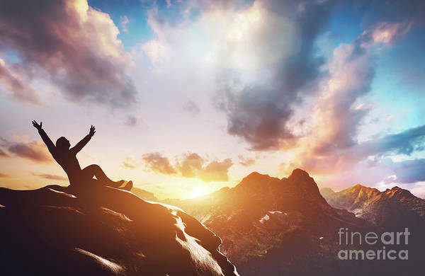 Photograph - Happy Successful Man On The Peak Of The Mountain by Michal Bednarek