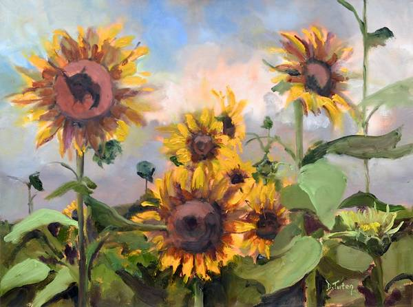 Painting - Happy Sunflower Faces by Donna Tuten