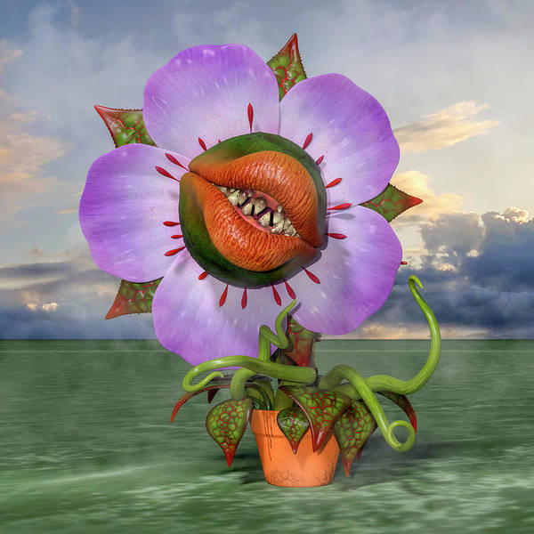 Wall Art - Digital Art - Happy Venus Fly Trap by Betsy Knapp