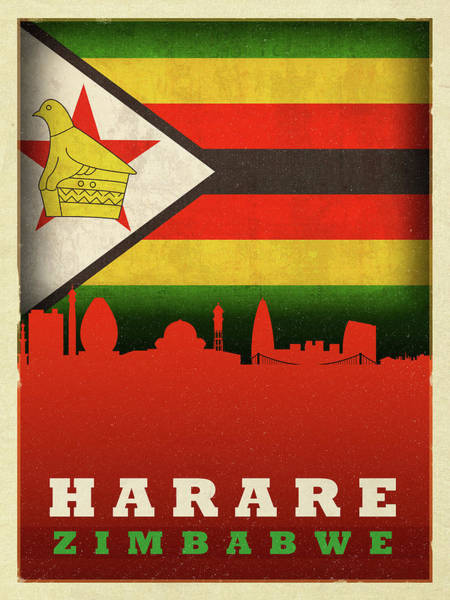 Wall Art - Mixed Media - Harare Zimbabwe World City Flag Skyline by Design Turnpike