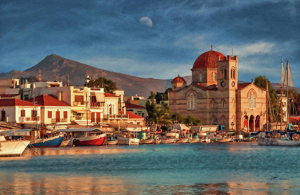 Painting - Harbor At Sunset On Greek Island Of Aegina - Dwp1627474 by Dean Wittle