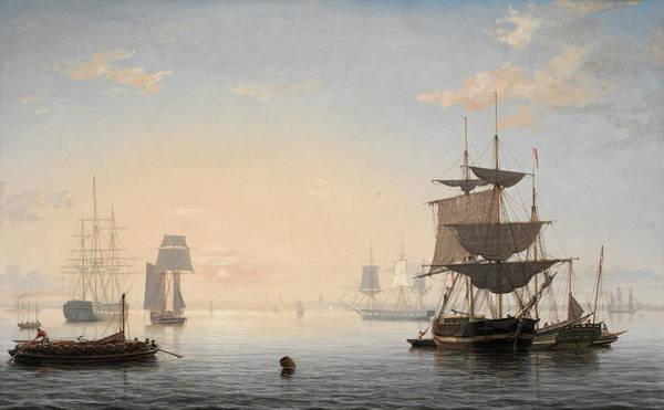 Wall Art - Painting - Harbor Of Boston, With The City In The Distance, 1847 by Fitz Henry Lane