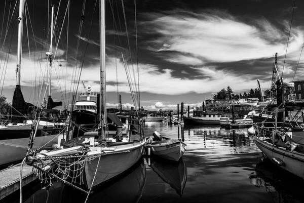 Wall Art - Photograph - Harbor On Guemes Channel Black And White by TL Mair