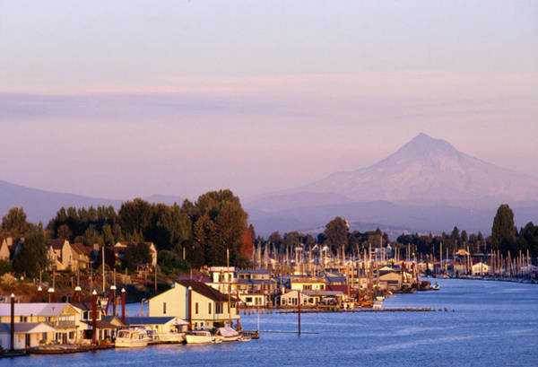 Fox River Wall Art - Photograph - Harbor On The Columbia River With Mt by Ryan Fox