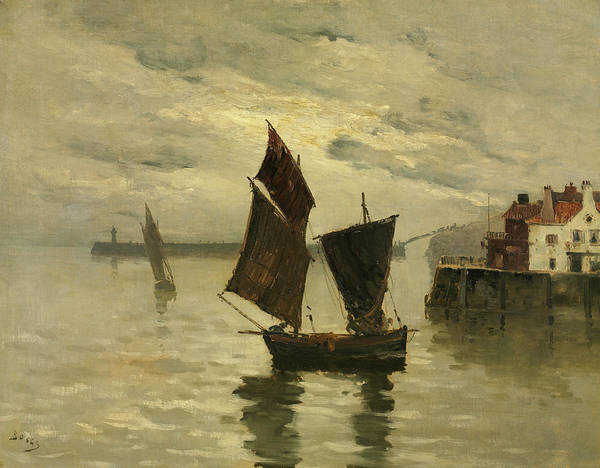 Wall Art - Painting - Harbor Scene by Frank Boggs