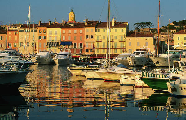 St Tropez Photograph - Harbour Boats And Waterfront Houses, St by David Tomlinson