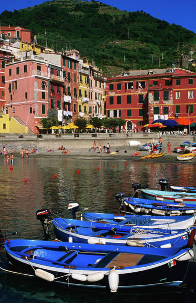 Small Town Photograph - Harbour Boats On Ligurian Sea And by Glenn Van Der Knijff